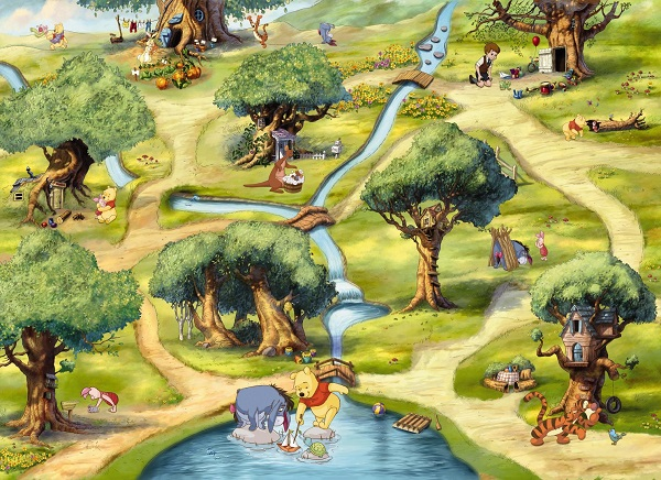 Winnie The Pooh Forest Background: Winnie The Pooh Forest Wall Mural Wallpaper